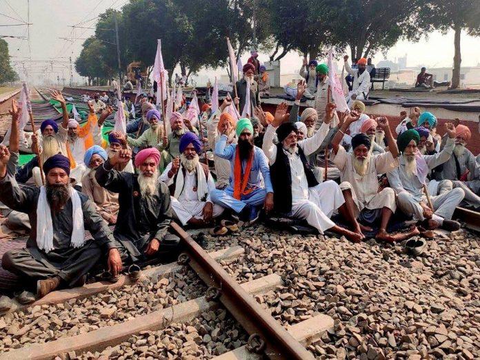 किसानो ने आज 4 घंटे के राष्ट्रव्यापी रेल रोको विरोध
